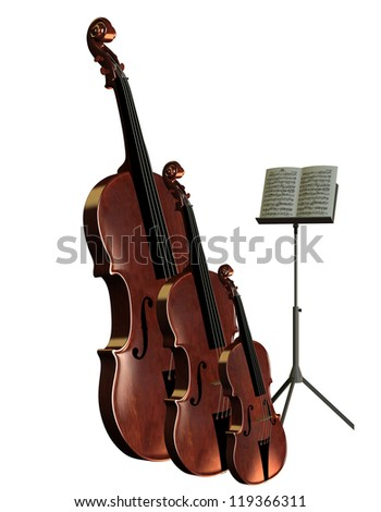 3D rendering of musical instruments bass cello and violin with music stand