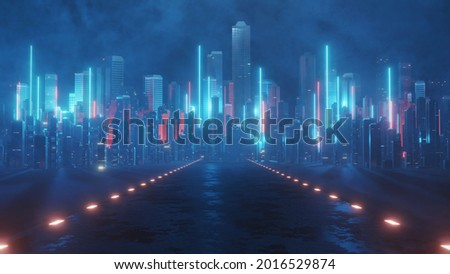 3D Rendering of neon mega city with light reflection from puddles on street heading toward buildings. Concept for night life,  business district center (CBD)Cyber punk theme, tech background