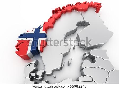 3d rendering of Norway