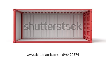 3d rendering of open empty red shipping container side view isolated on white background. Digital art. Objects and materials. Transportation and delivery. ストックフォト ©