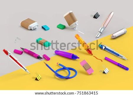 3d rendering of paint and write tools set. Stationery random lying on the split colored background. Education or school supplies items in nice bright cartoon style. Side view