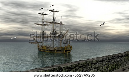3d rendering of pirate  scene at the sunset 3d rendering  #552949285