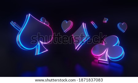 3D rendering of playing neon cards abstract background.