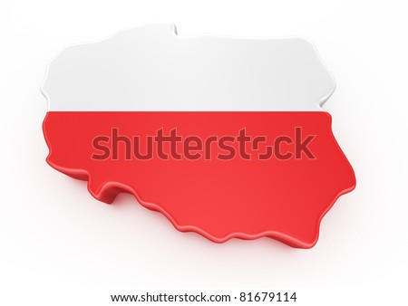3d rendering of Poland isolated