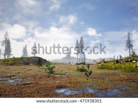 3D rendering of prehistoric Hell Creek about 67 million years ago which was the stomping grounds for Tyrannosaurus Rex and Triceratops.