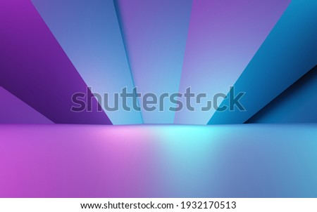3d rendering of purple and blue abstract geometric background. Cyberpunk concept. Scene for advertising, technology, showcase, banner, cosmetic, fashion, business. Sci-Fi Illustration. Product display