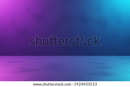 3d rendering of purple and blue abstract room background. Cyberpunk concept. Scene for advertising, technology, banner, cosmetic ads, showroom, fashion, business. Sci-Fi Illustration. Product display