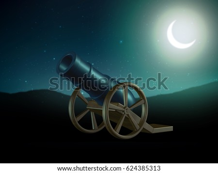 3d rendering of ramadan canon in an open field and crescent