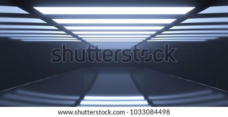 3D Rendering Of Realistic Empty Dark Room With Lights