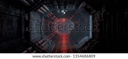 3d rendering of realistic sci-fi dark corridor with red light. Futuristic tunnel with grunge metal walls. Cyberpunk tunnel. Interior view. Modern futuristic hall. Empty corridor in a spaceship. Fog.