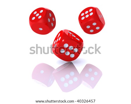 3D rendering of red dices on white background