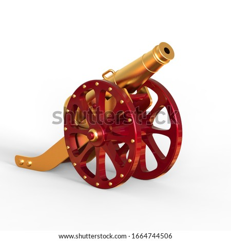 3d Rendering of red gold cannon isolated on white background, Ramadan kareem concept - 3d Illustration Сток-фото ©