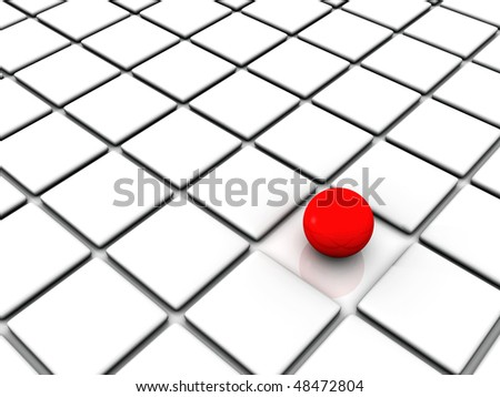 3D rendering of red sphere among white squares