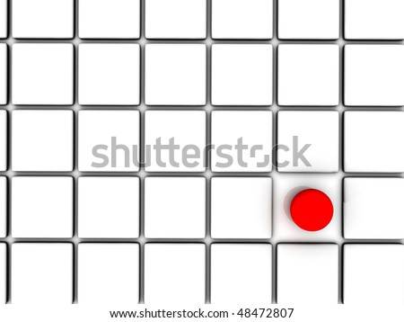 3D rendering of red sphere among white squares - stock photo