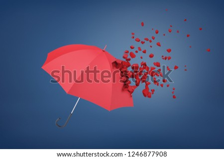 3d rendering of red umbrella shattering on blue background. Digital art. Objects and textures. Objects and materials.
