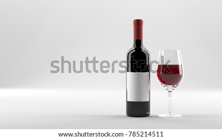 3D Rendering Of REd Wine Bottle With Label And Glass Of Wine On White Background 3D Illustration