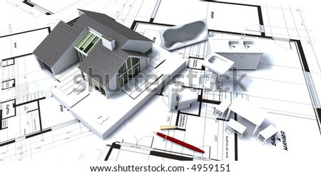 3D rendering of Residential house on architect's blueprints with miniature furniture and home appliances;