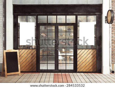 3d rendering of restaurant facade with posters