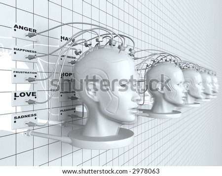 3D rendering of robotic heads on a wall