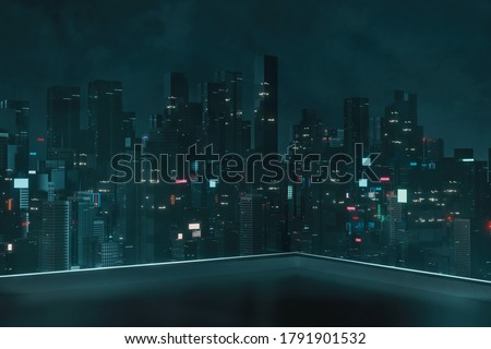 3D Rendering of roof top building with view of futuristic cyber punk city at night. Sky scrapper towers with glowing advertising signs. For business technology product background, wallpaper Zdjęcia stock ©