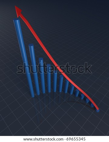 3D rendering of rounded bars with red arrow showing financial profit increase