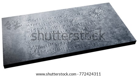 3d rendering of runestone inscribed by meaningless text for decorative purpose
