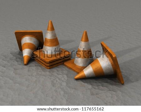 3D rendering of Safety Cones on a asphalt road
