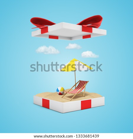 3d rendering of sand, beach chair, ball and umbrella into opened gift box on light blue background. Gifts and presents. Holidays and vacations. Summer plans.