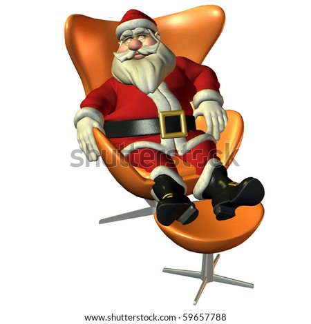 3d rendering of Santa Claus in sitting pose as illustration