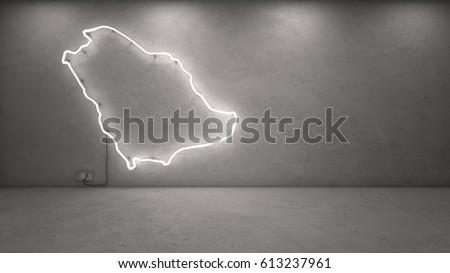 3d rendering of Saudi Arabia neon map on concrete wall