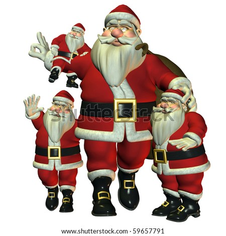 3d rendering of several Santa Claus of different size and poses as illustration