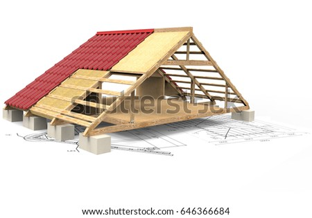 3D rendering of shingles. Roof #646366684