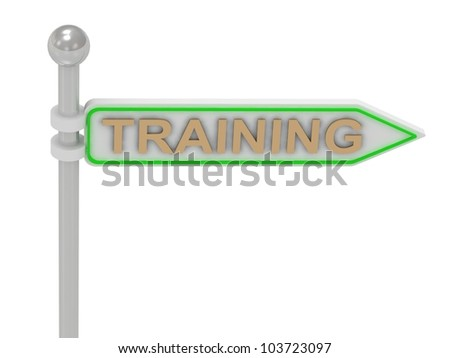 "3d rendering of sign with gold ""TRAINING"", Isolated on white background"