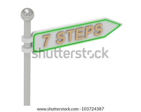 """3d rendering of signs with gold """"7 STEPS"""", Isolated on white background"""