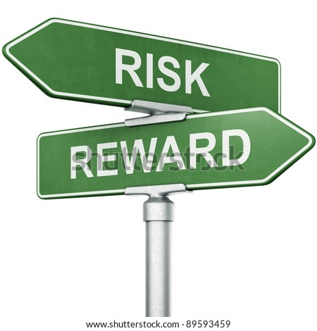 "3d rendering of signs with ""REWARD"" and ""RISK"" pointing in opposite directions"