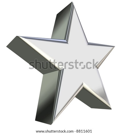 3d rendering of silver star, side view