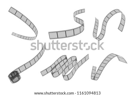 3d rendering of six differently placed filmstrips placed bended on a white background. Film and cinema. Cinema and art. Media and popular culture.