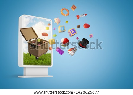 3d rendering of small billboard with trash bin and random items flying out on blue background. Digital art. Advertisement design. Waste and environment
