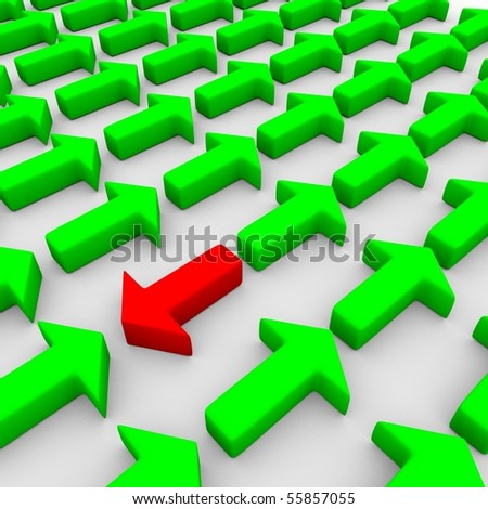 3d rendering of some green and a red arrow symbolysing a conflict - stock photo