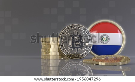 3d rendering of some metallic Bitcoins in front of an badge with the Paraguayan flag Stockfoto ©