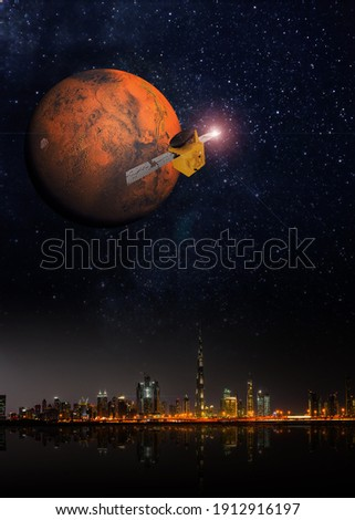 3D rendering of space probe mission to Mars from UAE. ストックフォト ©