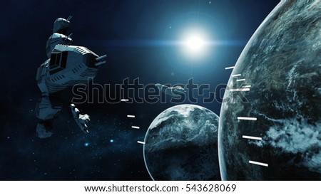 3d rendering of spaceship in...