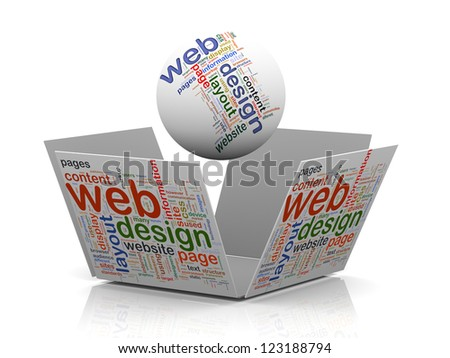3d rendering of sphere and open cube wordcloud word tags representing concept of web design