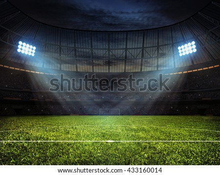 3d rendering of sport concept background - soccer football stadium with floodlights. Grass football pitch with mark up and soccer goal with net