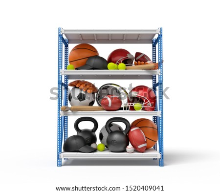 3d rendering of sports balls, helmets and kettlebells on metal rack shelves. Industrial warehouses. Packaging and delivery. Sporting goods.