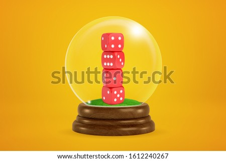 3d rendering of stack of four red dice inside snowglobe on amber background. Gambling addiction. Luck and probability. Taking chances.