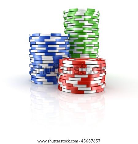 3d rendering of stacks of poker chips