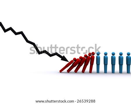 3d rendering of stock market plunge affecting jobs