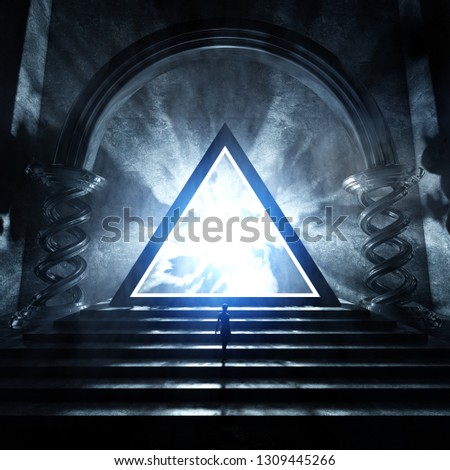 3D rendering of strange temple with glowing triangle shape hovering over an altar - original concept art without reference