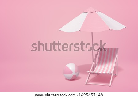 3d rendering of striped white and yogurt pink beach umbrella, beach chair and beach ball on pink background with copy space. Taking a break. Beach vacation.